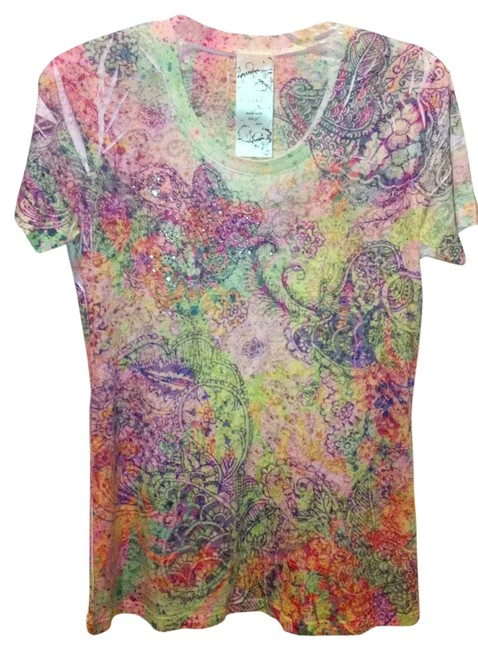 Preload https://item1.tradesy.com/images/g-girl-pastel-paisley-mix-floral-printed-crew-neck-tee-shirt-size-12-l-123820-0-0.jpg?width=400&height=650