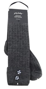 Gilly Hicks Mini Cable Slouchy Boot Socks with Plaid Button Cuff