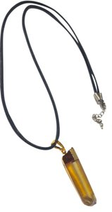 Other Crystal Stone Pendant Necklace on Black Cord N220