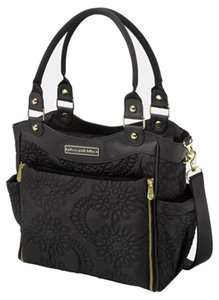 Petunia Pickle Bottom Embossed Quilted Hardware Black with Gold Trim Diaper Bag
