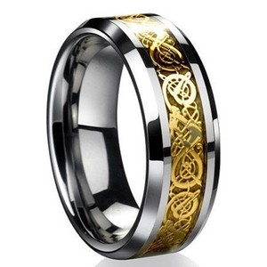 Gold Engraved Stainless Steel Wedding Band Free Shipping
