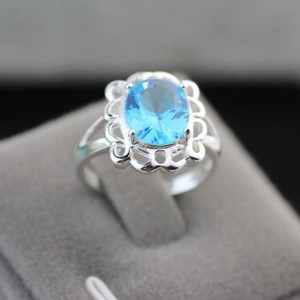 Blue Topaz Right Hand Ring Free Shipping