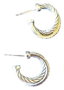 David Yurman Crossover Extra-Small Hoop Earrings with Diamonds