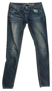 Almost Famous Clothing Rhinestones At Pockets Skinny Jeans-Distressed