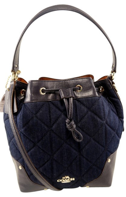 Item - Quilted Drawstring Blue Cotton Cross Body Bag