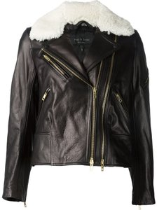 Rag & Bone Leather Shearling Biker Leather Jacket