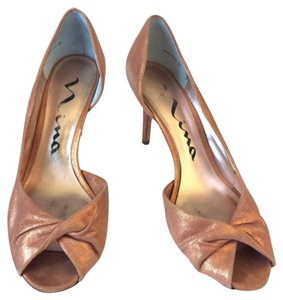 Nina Leather Metallic Copper, Metallic Formal