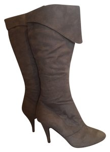 Charlotte Russe Foldover Cuffed High Heel Medium Heel Faux Suede Grey Boots