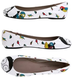 Marc by Marc Jacobs Ball Ballet Print White Flats