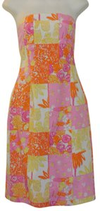 Lilly Pulitzer short dress Multi Patch Print Strapless on Tradesy