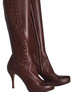 Max Studio Gold Studs Platform Brown Boots