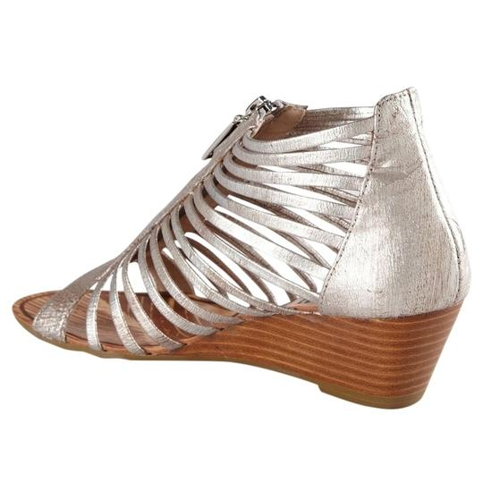 Matiko Strappy Sandal Leather Metallic Brushed Silver Wedges Image 1