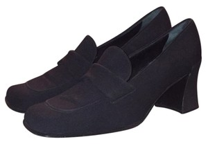 Prada Leather Satin Made In Italy Black Pumps