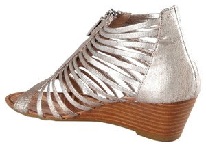 Matiko Strappy Sandal Leather Metallic Brushed Silver Wedges