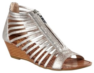 Matiko Strappy Sandal Leather Metallic Distressed Brushed Silver Wedges