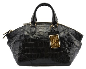 Ralph Lauren Bedford Crocodile Satchel in Black