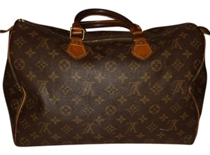 Louis Vuitton Leather Classic Monogram Satchel in Brown and Tan