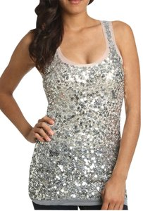 Arden B Tunic Holiday Sequin Racer-back Top silver
