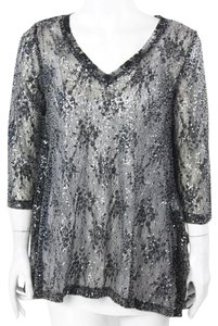 Lynn Ritchie Rtichie New Sheer Top Black and White