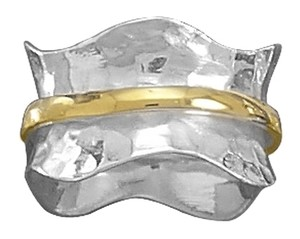 NEW Sterling Silver Two Tone Wave Ring