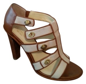 Coach Turnlock Leather Linen and Caramel Sandals