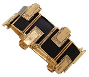 Olivia Welles Black & Gold-Plated Pave Lined Bracelet