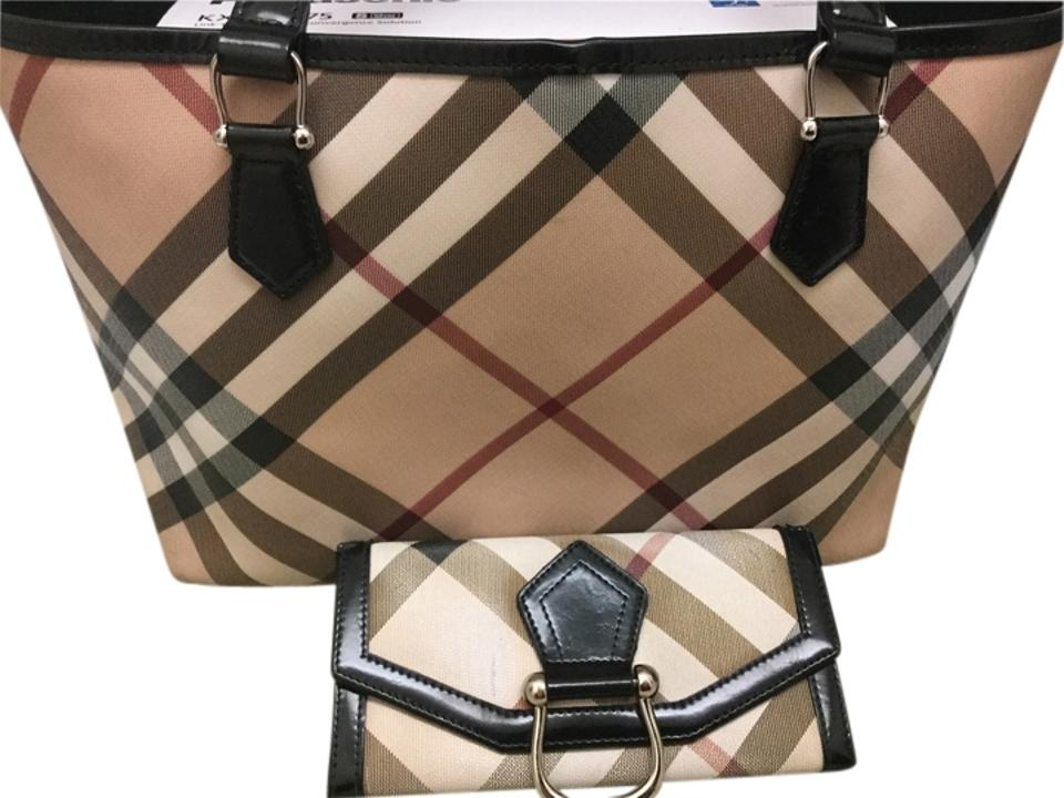 20fd1abf6034 Burberry And Wallet Nova Check with Black Patent Leather Trim Coated Canvas  Tote