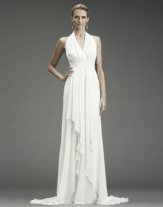 Nicole Miller Bridal Antique White Silk Grecian Inspired Gown 12 Fa0028 Formal Wedding Dress Size 6 (S)