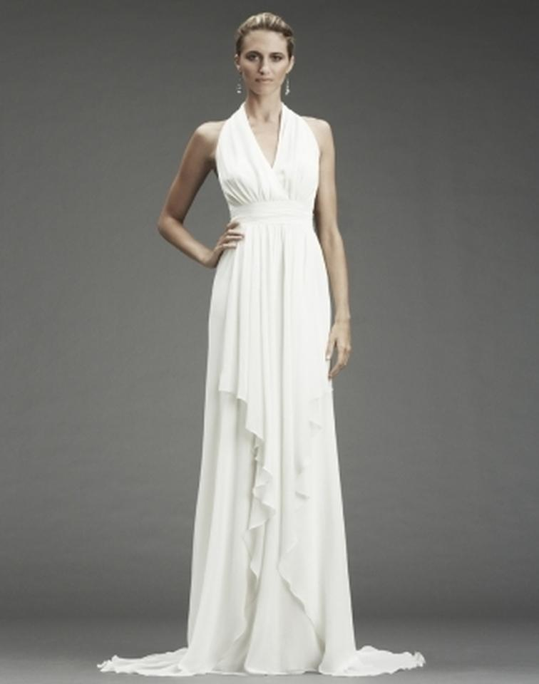 Nicole Miller Bridal Antique White Silk Grecian Inspired Gown 12 Fa0028 Formal Wedding Dress Size 6