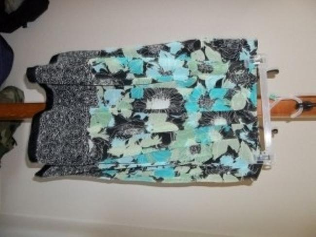 Other Skirt Turquoise and Black flower pattern