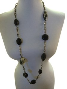 Unknown Beaded Strand Necklace with large black beads on a gun metal chain