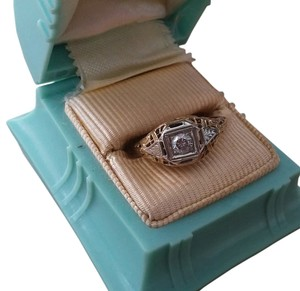Vintage Deco Filagree 14k Bridal Engagement Diamond Ring