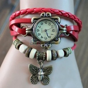 Red Bracelet Butterfly Watch Free Shipping