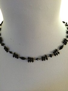 LC Lauren Conrad Black Beaded Necklace on a gun metal toned chain