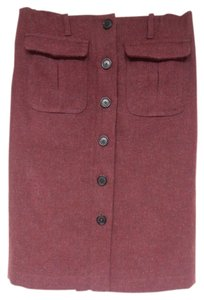 Burberry Designer London Lined Pockets Skirt Burgundy