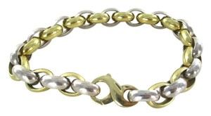 Other 18KT SOLID YELLOW WHITE GOLD OVAL LINK BRACELET TWO TONE 92.1 GRAMS NO SCRAP