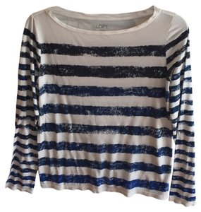 Ann Taylor LOFT T Shirt Black, White, and Blue