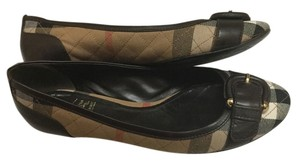 Burberry Tan red black with Brown leather trim Flats