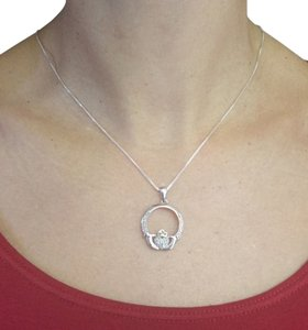 Other Sterling Silver Diamond pendant Chain Necklace, abt 4.6g, 16