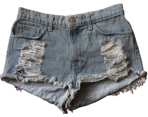 O2 Denim Boho Bohemian Fringe Hem Cut Off Shorts Distressed faded denim