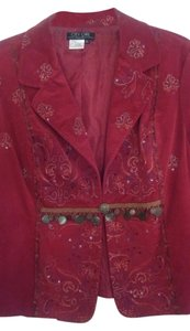 Nancy Belen Sequined Embroidered Coin Accents Cranberry Blazer
