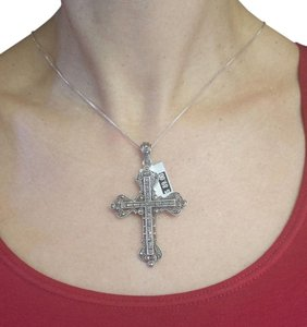 Other Sterling Silver Cross Pendant necklace with marcasite Stones,16in