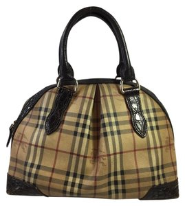 Burberry Haymarket Satchel in Brown