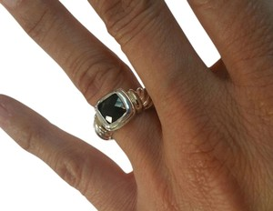 Sterling Silver Ring with 7mm Square Black Onyx, Size 7.75