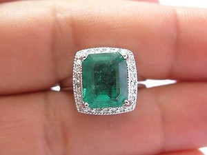 Fine Gem Green Colombian Emerald Diamond White Gold Jewelry Ring 4.50ct