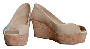 Jimmy Choo Beige Patent Leather Size 37.5 Nude Wedges