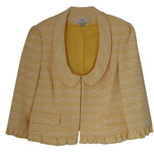 Ann Taylor LOFT Lined Acrylic Blend Yellow and White Blazer