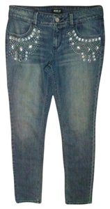 A.B.S. by Allen Schwartz Rhinestone Studded Skinny Jeans-Light Wash