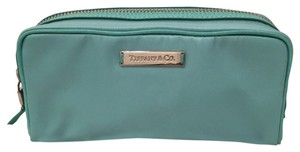"Tiffany & Co. Tiffany & Co ""Tiffany Blue"" Nylon Cosmetic Case With Leather Trimming"
