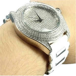 Silicone Band White Watch Party Wear Unique Lab Diamond Techno Pave Techno Bling